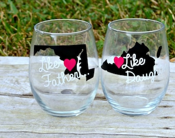 The Today Show - Father's Day - Father of the Bride - State Wine Glasses - Gift Set - Daddy Daughter - Gift for Dad Wedding