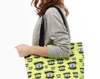 Screen-printed Eyes Tote, shoulder bag, carry all
