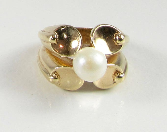 Yellow Gold Pearl Ring, Estate Pearl Ring, Modernistic Pearl Ring, June Birthstone Ring, Pearl Ring, June Birthstone, Mod Pearl Ring