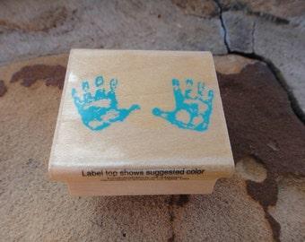 Rubber stamp wooden stamp wood stamp kids hand prints hand printed stamper stamp Child children kids