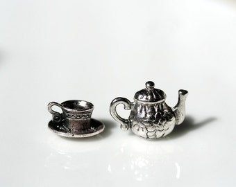 50 Charms 25 Teacup AND 25 Teapot Charms 12X5mm Tea Party Alice In Wonderland Tea Cup Charm Teapot Tea Set