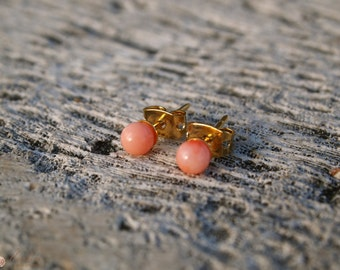 Peach Coral Studs