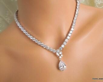 Bridal necklace Wedding crystal necklace Rhinestone necklace Statement Bridal Necklace Cubic ziconia necklace Wedding backdrop Necklace MAY