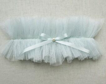Siren blue silk garter