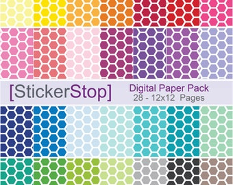 Hexagon Pattern Digital Paper Set in 28 Rainbow Colors - Instant download PNG files - 12 x 12 paper