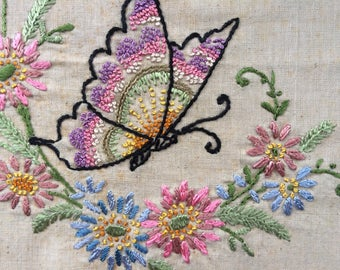 Butterfly Floral Embroidery Quality workmanship Gift Vintage Handmade ready for framing or pillow front