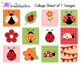 Lady Bug Digital Collage Sheets - 1 Inch Square Images -  Lady Beetle Digital Collage Sheets - Instant Download