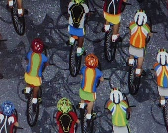 Cycling, Cotton Fabric,Sports Bicycling by Timeless Treasures #GAIL-C4657, Fast Shipping S189