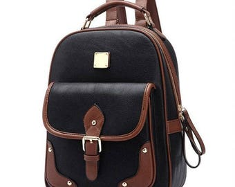 Two-Tone Leather Mochilla Backpack