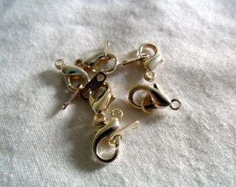 Silver Lobster Clasps - Silver Lobster Clasp Findings - Silver Lobster Claps Jewelry Findings - 6 pieces - 12 mm x 6 mm