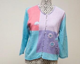Vintage women's cardigan Sigrid Olsen pastel multicolor Women's sweater size Petite large