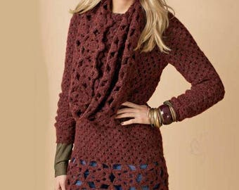 Pullover tunic woman with a crochet shawl / order