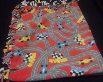 Race car on track kids fleece tie blanket