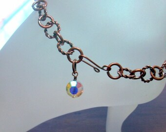 Antiqued Copper Ankle Bracelet with vintage crystal charm Adjustable Up to 10 Inches Long With Your Choice of Clasp