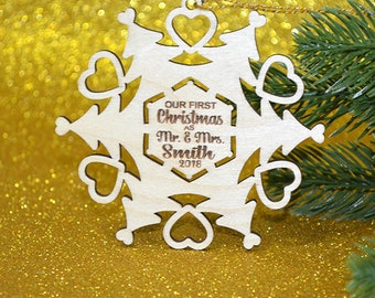 Our First Christmas Snowflake Ornament, personalized family ornament, custom engraved wood snowflake, christmas ornament, holiday decor