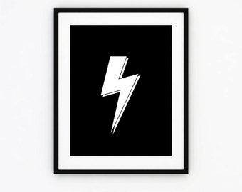 Thunder, Thunder Print, Thunder Wall art, Black and white, Home Decor, Art Print, Digital Print, Instant Download