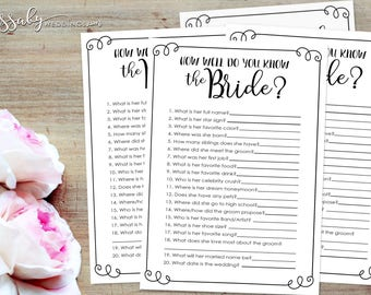 How well do you know the Bride? Bridal Shower Game - INSTANT DOWNLOAD - Printable Wedding Shower Games, Black & White, by Sassaby Weddings