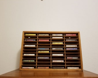 Vintage Napa Valley Box Wood 48 Ct Cassette Tape Holder Wall Mount Storage Box, Cassette Tape Wall Cabinet, Cassette Tape Storage