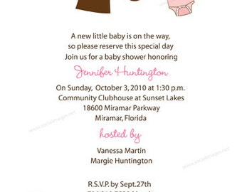 Clotheslines Baby Shower Invitations, Digital/Printable File // Girl Baby Shower Invitation // BABY SHOWER