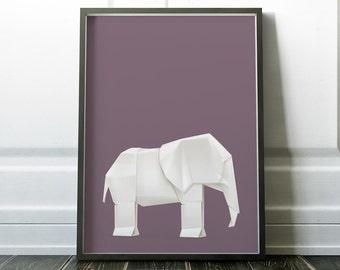 Wall Art Print, Minimalist Print, Origami Print, Elephant Print, Origami Wall Art, Modern Art, Wall Art, Minimalist Art, Origami, Prints