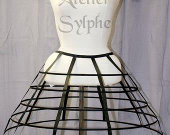 Black color Crinoline hoop skirt cage pannier 5 rows elastic waist for costume