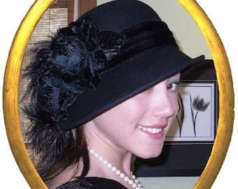 Kentucky Derby Hat Flapper Hat Edwardian Downton Abbey Hat Gatsby Hat Tea Party Cloche Hat Women's Black Hat - Lady Marguerite