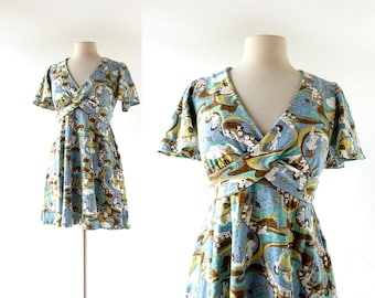 70s Mini Dress | In the Realm of Dreams | Novelty Print Dress | XS S