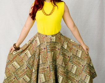 Vintage 1950s Quilted Circle Skirt / Vintage 50s Circle Skirt / 50s Skirt