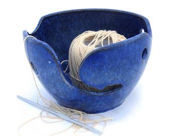 Ceramic Yarn Bowl, Blue Crystalline Glazed, Knitting Bowl, Crochet Bowl, Gift for Knitter