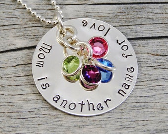 Ready to ship - Hand Stamped Jewelry - Personalized Jewelry - Mom Necklace - Mom is another name for love - Sterling Silver - 6 Birthstones