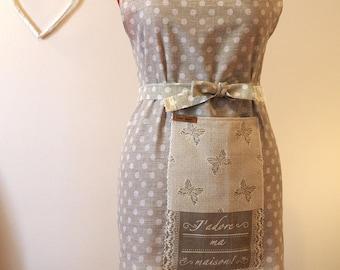 "Cotton kitchen apron ""dots""-gift idea-kitchen"