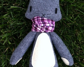 Grey Rabbit - Purple Scarf