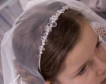 communion or wedding veil and tiara with cristals in white or ivory