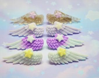 Pastel Goth, Angel Wings Hair Clips, Pair of Wing Hair Clips Barrettes Angel, Fairy Kei, Kawaii, Pastel (Pick One)