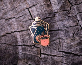 Camp Coffee Pot and Cup - Outdoor Series - Brass Enamel Lapel Pin - Camping National Parks