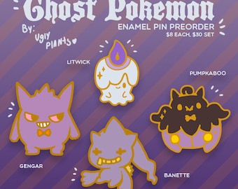 PRE-ORDER Ghost Pokemon Inspired Halloween Enamel Pins