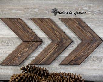 Chevron Wood Rustic Décor Chevron Art Chevron Arrow Dark Walnut Wood Arrow  Wood Wall Art Rustic