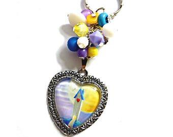 Key ring, key chain, home, heart, keychain, keyring, heart, beads, gift for her, womens keychain, sweet home, gift for mom, gift for gandma