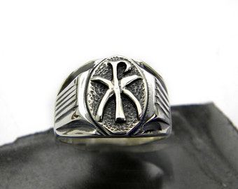 sterling silver men's ring Chi Rho symbol Christogram handmade heavy ring size 10, pre christian monogram jewelry for men