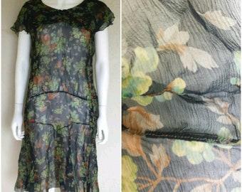 Antique VTG 1920s sheer floral print drop waist silk dress