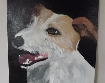 Jack Russell Painting Wall Art Canvas Pet Dog Portrait Original Painting