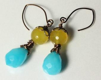 Aqua Chalcedony and Sunshine Yellow Agate Earrings