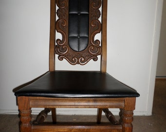 Vintage 1970's Handmade BASSETT Ornate Leather Chairs  ** One Of A Kind **