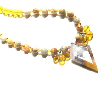 Oregon Jasper Diamond Pendant Necklace, Yellow Beaded Necklace, Mothers day gift, gift for her Etsy Necklace Oregon Jasper, Crazy lace beads