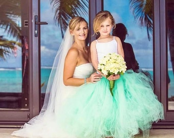Mint Green Flower Girl Tulle Skirt - Sewn Mint Green Tutu - Long Length - Made to Order - Weddings, Photo Prop, Birthday, Portraits