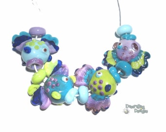 MR. FISH Tropical Handmade Lampwork Beads Turquoise Blue Cobalt Purple Lime Funky Big Fish Set of 4