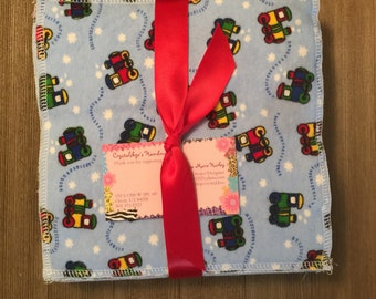 Cloth baby wipes 24 made with 2 layers 100% cotton flannel adorable Little Trains  pattern