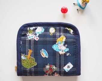 Alice in wonderland Small zipper around fabric wallet