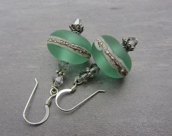 Lampwork Earrings Etched Ice Green Earrings Glass Bead Earrings Dangle Drop Earrings Handmade Earrings SRAJD USA Handmade
