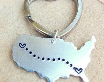 United States Keychain, Gifts for Men, Boyfriend Gift, Long Distance  Keychain, Couples Keychain, Personalized Keychain, natashaaloha